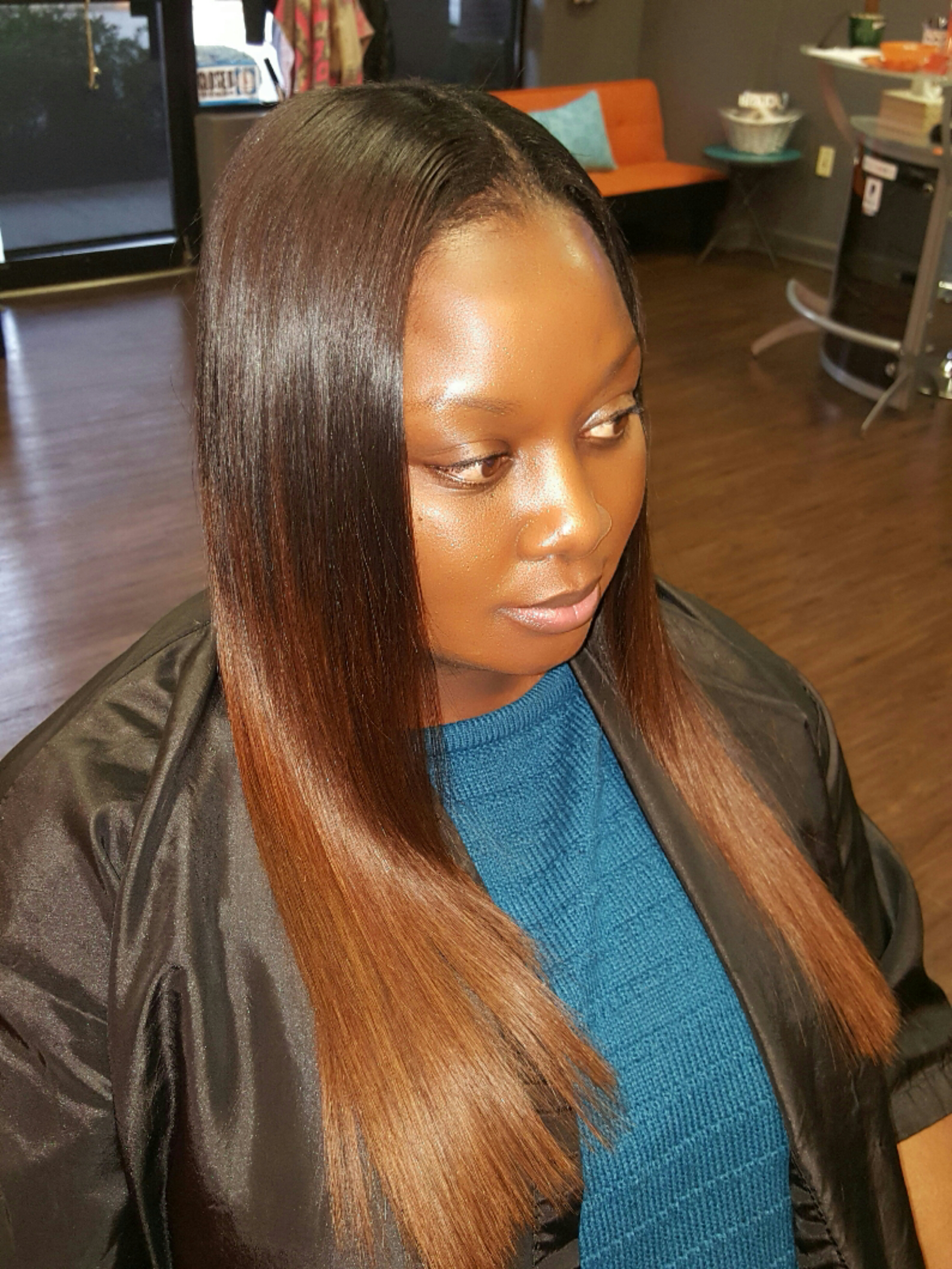 Ombre weave, color, sewin, brown copper