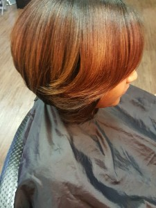 Bob Cut, Sew-in, brown, copper
