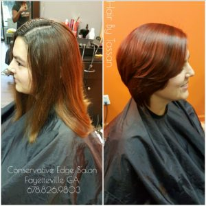 silk press, cut bob, flat iron, straighten, color
