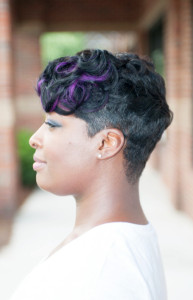 short cut black hair and purple highlights