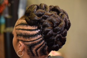 natural up-do, cornrows, braids