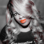 black & white photo, photo, makeup, blonde, red lipstick, makeover, clean makeup, natural makeup, wig, rods curls