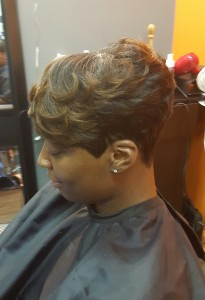 pixie cut short style cut sides, short curled, fairburn, fayetteville ga, union city, newnan,