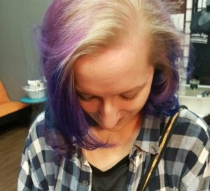 Purple, Blue, Blonde, highlights, low lights