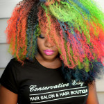 natural up-do, cornrows, twist out, braids, makeup, makeover, rainbow hair, colorful hair, clown inspired, yellow, green
